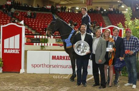 Andrew Ramsay with Brandon Seger and Chris Norden of Markel Insurance, Melissa Brandes and Robert Ridland of Blenheim EquiSports, and Ludo Carre of CWD Sellier
