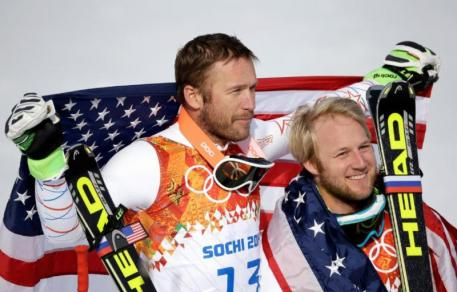 Bronze medalist Bode Miller of the United States (L) and silver medalist Andrew Weibrecht of the United States. (c)Getty Images/Ezra Shaw