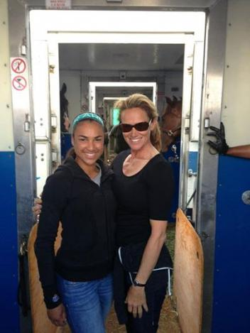 Anna and Sandy off on the flight home with the horses.