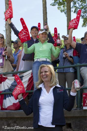 Ann Romney cheers on her horse and rider at the Olympic Selection Trials for the United States Dressage Team 