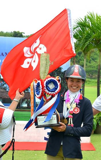 Hong Kong's Annie Ho was crowned the first-ever FEI Asian Eventing Individual Champion at Pattaya in Thailand last Sunday.  Photo: FEI/Tor Chalermcharn.