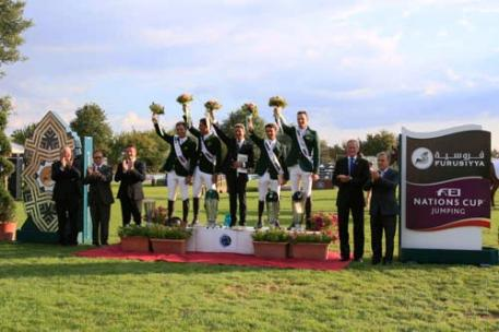 At the podium presentation following the last qualifying leg of the Furusiyya FEI Nations Cup™ Jumping 2013 series at CSIO 3* San Marino Arezzo in Italy today: (L to R) Carlo Bernardini, Bruno Quadrelli and Riccardo Boricchi from CSIO 3* San Marino Arezzo Organising Committee, Brazilian team members Rodrigo Pessoa and Alvaro de Miranda, Chef d'Equipe Jean-Maurice Bonneau, team members Marlon Zanotelli and Eduardo Menezes, FEI Jumping Director John Roche and Lazzaro Volpinari, President San Marin