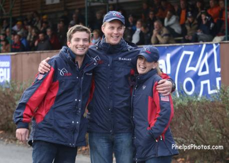 Jacob Arnold and fellow grooms at the 2013 Pony Driving World Championships, Pau, France Photo: Mary Phelps
