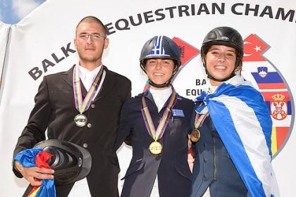 On the podium for the Junior Individual Championship at the FEI Balkan Jumping Championships 2013 which took place in Istanbul (TUR) last weekend - (L to R) silver medallist Cristian Ceausescu from Romania, gold medallist Ioli Mytilineou from Greece and bronze medallist Marina Theofanopoulou from Greece.  Photo: FEI/Alexic Vassilopoulos.