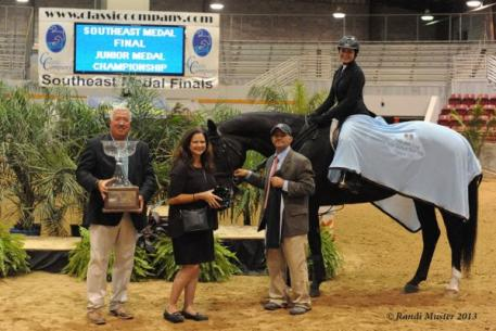 Bob Bell, Carrie Wirth, and James Lala with Barbara Ann Merryman and El Paso, winners of the SEMF Phelps Media Group Junior Medal. Photo by Randi Muster