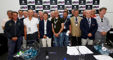 Photo Caption: The 18 Chefs d'Equipe pictured at the draw for the first competition in the Furusiyya FEI Nations Cup™ Jumping Final which begins tomorrow afternoon at the Real Club de Polo in Barcelona, Spain. Pictured (L to R): Kurt Gravemeier (BEL), Jean Maurice Bonneau (BRA), Stevie Macken (AUS), Thomas Istinger (AUT), Mark Laskin (CAN), Philippe Guerdat (FRA), Rob Hoekstra (GBR), Mauricio Ruiz (COL), Robert Splaine (IRL), Rob Ehrens (NED), Hirokazu Higashira (JPN), William Meeuws (QAT), Rogi