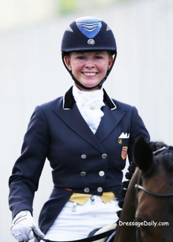 Katherine Bateson Chandler all smiles leaving the arena. Photo by Mary Phelps