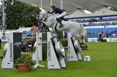 Ben Maher (GBR), pictured here with Cella at the Discover Ireland Dublin Horse Show, has jumped up to the top spot in the Longines Rankings. Photo: ES Photography.