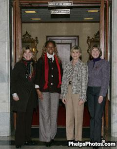 Mary Phelps Hathaway, Janise Gray, The First Lady of Kentucky, Jane Beshear, and Sheryl Kursar in front of the office of the Governor of Kentucky, Steve Beshear