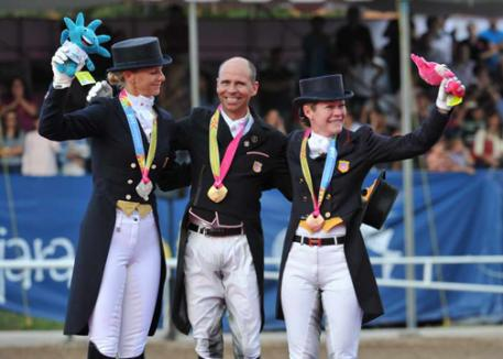 USA Dressage wins all three individual medals: Heather Blitz-Silver, Steffen Peters, Gold, and Marisa Festerling, Bronze