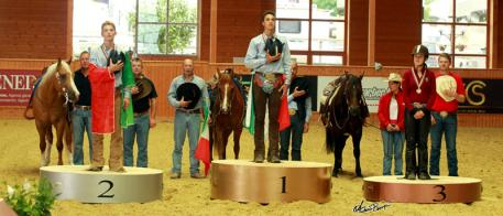 On the podium for the Junior Individual Championship at the FEI European Reining Championships for Juniors and Young Riders 2014 at Givrins, Switzerland yesterday: (L to R) Eric Ranieri Volpe ITA (silver), Enrico Sciulli ITA (gold) and Gina Maria GER (bronze). Photo: FEI/Andrea Bonaga.