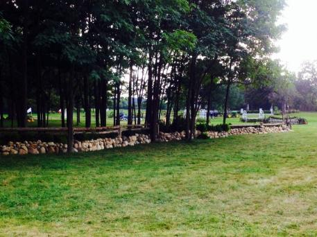 The 200-foot stone wall with timber fencing that Murphy helped design and construct for the Chicago Hunter Derby.