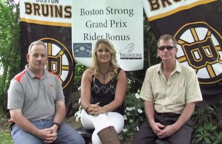 Jeff Papows of Silver Oak Jumper Tournament (left) and Scott Clawson of the Fieldstone Show Park (right) conduct an interview with Kendall Bierer of Phelps Media Group about the ,000 Boston Strong Rider Bonus.