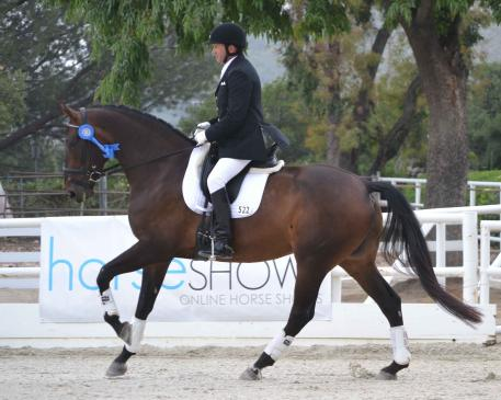 """Craig Stanley rode the 5-year-old U.S.-bred """"Caliente DG"""" to victory in the opening round of the Markel/USEF Western Dressage Selection Trial on the first day of competition at the Dressage at Flintridge CDI*/Y/J. Photo: Jennifer M. Keeler"""