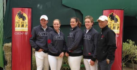 [left to right] - Canadian Show Jumping Team; Chris Sorensen, Angela Covert, Kelly Koss-Brix, Ben Asselin and Chef d'Equipe, Mark Laskin. Photo credit - Courtesy of Whitney Linders