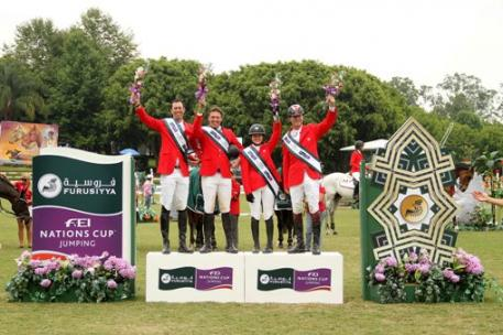 Team Canada recorded their second successive victory in the Furusiyya FEI Nations Cup™ Jumping 2014 North America, Central America and Caribbean League when winning the qualifier at Coapexpan, Mexico today.  On the podium (L to R) Jonathon Millar, Chris Sorensen, Kara Chad and Ian Millar.  Photo: FEI/Anwar Esquivel.