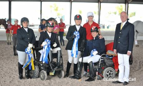 Canada Team left to right: Riders Lynne Poole, Lauren Barwick, Ashley Gowanlock, Jody Schloss with Chef d'Equipe Andrea Taylor, and judge Bo Ahman (Photo: (C) Lindsay McCall)