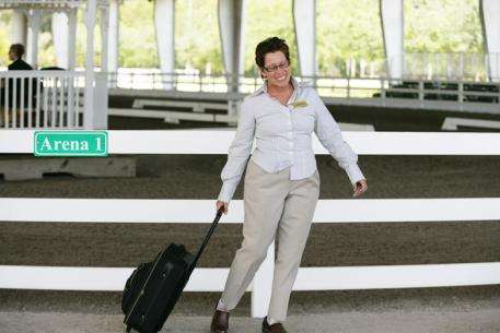 Carol Bulmer from Claremont, Florida at the Gold Coast Dressage Show in Palm Beach, FL