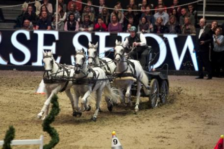 IJsbrand Chardon (NED) was in flying form in the electrifying atmosphere of London Olympia (GBR) to win the seventh leg of the FEI World Cup™ Driving season 2013/2014. (Rinaldo de Craen/FEI)