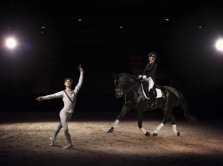 Olympic and European Dressage champion Charlotte Dujardin OBE demonstrates the grace and harmony of her sport, alongside Kanstantsin Geronik from the Minsk Bolshoi ballet, ahead of the Reem Acra FEI World Cup™ Dressage Final in Lyon, France (17-21 April). (c) FEI/Hamish Brown