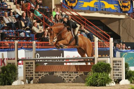 Third placed Charlotte Jacobs riding PATRICK