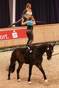 Kimberly and Cassidy Palmer performing a Pas de Deux freestyle test on Saturday at CHIO Aachen (Photo: barny-th.de)