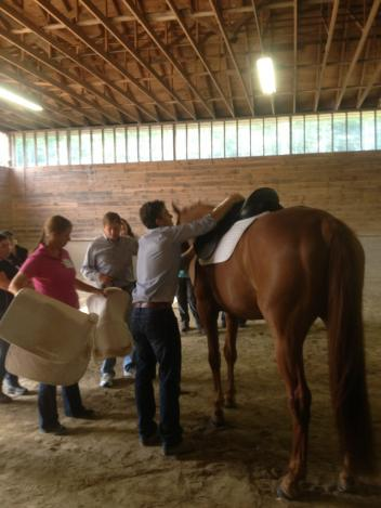 Custom Saddlery's Cary Wallace at the Dover Saddlery clinic. (Photo: courtesy of Dover Saddlery)