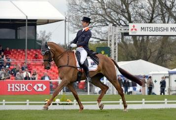 Christopher Burton (AUS) and Holstein Park Leilani take the lead after the first day of Dressage at the Mitsubishi Motors Badminton Horse Trials (GBR), fourth leg of the HSBC FEI Classics™ 2012/2013. (Photo: Kit Houghton/FEI).