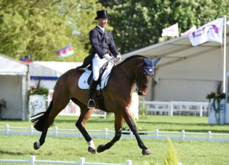 Clark Montgomery (USA) produces a superb performance on Loughan Glen to take the lead after Dressage at the Mitsubishi Motors Badminton Horse Trials, fourth leg of the FEI Classics™ series. Photo: Kate Houghton/FEI.