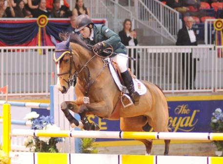 Conor Swail riding Ariana with one stirrup. Pic by Nancy Jaffer.