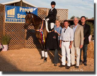 """Markel representatives John, Lisa, and Brandon Seger as well as Gil Merrick present the Open Third Level Markel/Cornerstone Series Championship to Sherry Van't Riet and """"Sir Deauville"""". (Photo:Genia Ply)"""