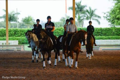 :  Team Off the Record sponsored by ShowChic during practice at Everglades Dressage (Photo: Meg McGuire/PS Dressage)