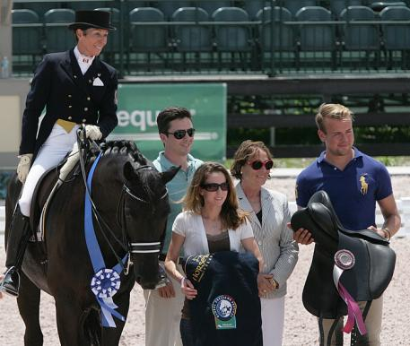 Christilot Boylen and Dio Mio with Matt and Courtney Varney of Wellington Equestrian Realty, judge Evi Eisenhardt, and Endel Ots - Custom Saddlery Photo:Betsy LaBelle