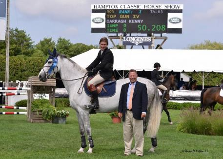 Darragh Kenny rode Top Gun IV to win section B of the 10,000 Newsday Open Jumper at the Hampton Classic. (Shawn McMillen photo)