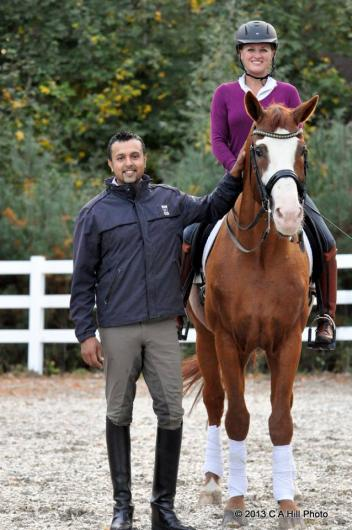 Dave Thind along side student and Grand Prix trainer Stacy Posthumus of Performa Dressage  Photo: C A Hill