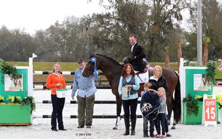 David Beisel and Ammeretto are awarded with top honors, including a Horze Equestrian cooler, after the ,000 Strongid© C 2X™ Grand Prix, presented by Zoetis, at HITS Ocala. ©ESI Photography