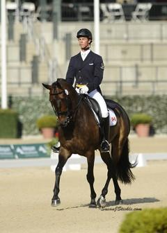 "David Zeigler's 11-year-old eventer, Irish Sport Horse gelding Peninsula Top Man, sired by Kings Master ""didn't like to jump"" so dressage became his thing, earning him the 2014 NAJYRC Dressage Silver Medal.  Photo: SusanjStickle.com"