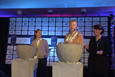 At tonight's draw for order-of-go were competitors Marcel Krinke Susmelj (SUI), Tinne Vilhelmson-Silfven (SWE) and Wiveka Lundh representing the Swedish Federation. (Photo: FEI/Kit Houghton)