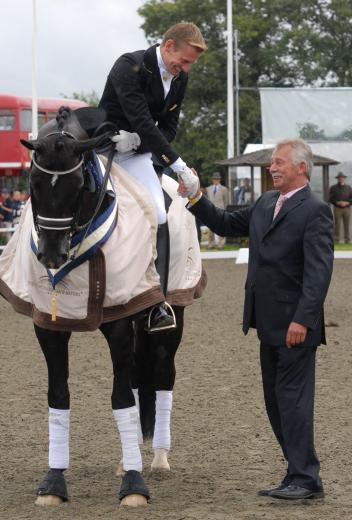 Stephen Clarke President Dressage Ground Jury Olympic Games London 2012 with Edward Gal and Totilas