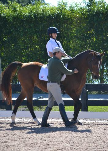 Robert Dover working with Robert Leuck, 14, who came with his family and pony to Wellingtong for the Christmas holiday to participate, December 26-31 at the Robert Dover Horsemastership Clinic and Emerging Dressage Athlete Program. (Photo: Jennifer Keeler)