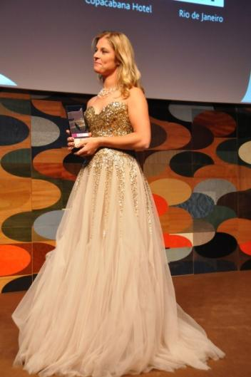 Dutch Dressage rider Adelinde Cornelissen receiving the 2011 Reem Acra Best Athlete Award at the FEI Awards ceremony at the Copacabana Hotel, Rio de Janeiro