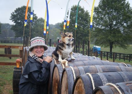 Mary and Tasha at the Brown-Foreman Whiskey Barrels walking the obstacles. (photo: JJ Hathaway)