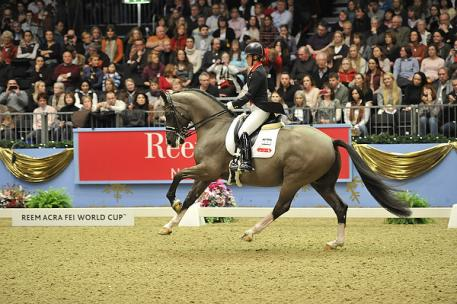 The London 2012 Olympic individual and team gold medal winning Charlotte Dujardin and Valegro (GBR) topped the fifth leg of the Reem Acra FEI World Cup™ Dressage Western European League series at Olympia in London. (Photo: FEI/Kit Houghton)
