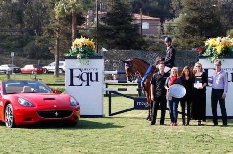 Menezes with representatives from Equ Lifestyle, Ferrari & Maserati of San Diego,and Blenheim EquiSports. Photo courtesy of CapturedMomentPhoto.com