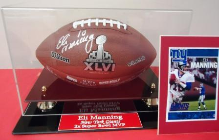 Eli Manning New York Giants Two Time Super Bowl Quarterback Signe Limited Edition Football in Deluxe Display case – Value – Priceless!