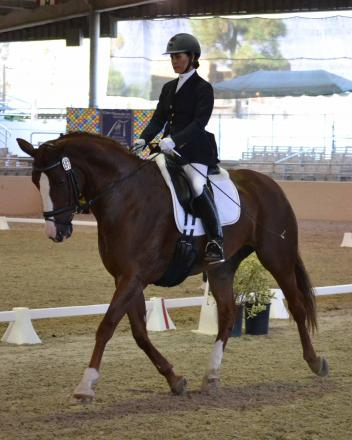 "Elma Garcia and ""Wenesa"" show off the winning form which earned them the blue ribbon in the inaugural CDS Dressage Seat Equitation Challenge. (Photo: Jennifer M. Keeler)"