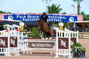 Emanuel Andrade of Venezuela claimed the High Junior Jumper Championship title with Carboni on opening week of the FTI Consulting Winter Equestrian Festival in Wellington, Florida. Photo by Jack Mancini