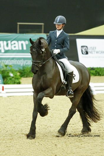 "Competitors like Emily O'Neill of Conestoga, PA aboard ""Sir Lancelot"" danced to freestyle championship victories during today's US Dressage Finals presented by Adequan®.  Photo: SusanJStickle.com"