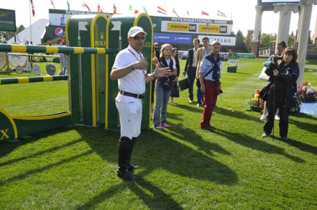"Rolex Testimonee Eric Lamaze conducts a guided course walk on the opening day of the Spruce Meadows ""Masters"" tournament in Calgary, Alberta. Kit Houghton"