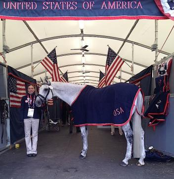 Groom Meagan Ferrari-Szarek ready to jog with U.S. Team member Dale Dedrick's Bonifatius. All Team USA horses passed inspection August 29, 2012.